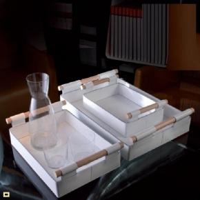 Аксессуары и Мебель для дома. Поднос лоток Hanny кожаный белый с деревянными ручками
