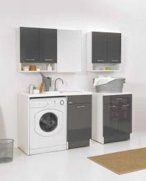 Итальянские постирочные раковины Мебель и оборудование для постирочной комнаты. Постирочная мебель раковина с крылом для стиральной машины Antracite Duo