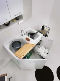 . Мебель для постирочной Active Wash Colavene двойная постирочная раковина Bianco