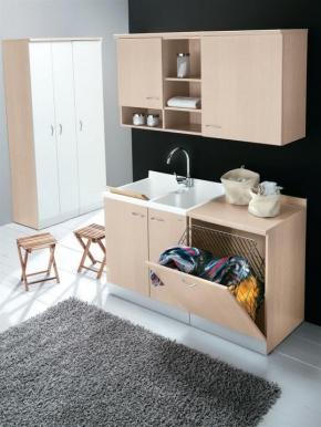 Итальянские постирочные раковины Мебель и оборудование для постирочной комнаты. MAVEL Постирочная мебель с двойной постирочной раковиной и тумбой со встроенной корзиной для белья откидной