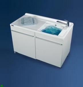 Итальянские постирочные раковины Мебель и оборудование для постирочной комнаты. Постирочная раковина с крылом для стиральной машины белая DX Colavene Active Wash