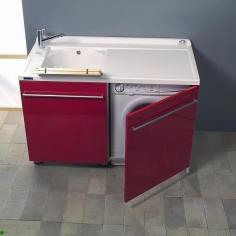 Итальянские постирочные раковины Мебель и оборудование для постирочной комнаты. Мебель постирочная раковина с крылом для стиральной машины SX Colavene Active Wash красная