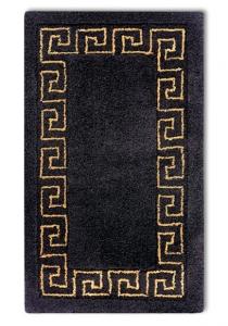 Коврики для ванной комнаты. Коврик для ванной комнаты чёрный с греческим декором люрекс золотой