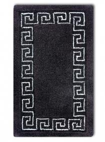 Коврики для ванной комнаты. Коврик для ванной комнаты чёрный с греческим декором люрекс серебряный