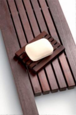 Мебель и Аксессуары для ванной из натурального дерева, Раттана и Бамбука. Мыльница настольная деревянная тёмная SPALL