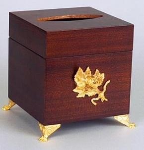Мебель и Аксессуары для ванной из натурального дерева, Раттана и Бамбука. Салфетница деревянная Mogano куб настольная с декором Золото Бронза