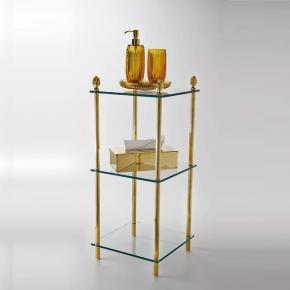 Этажерки для ванной. Elements этажерка стеклянная тройная золотая