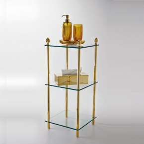 . Elements этажерка стеклянная тройная золотая
