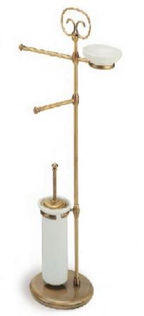 . ID стойка с ёршиком и бумагодержателем напольная для унитаза и биде бронзовая с мыльницей
