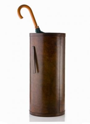 Подставки для зонтов. Зонтичница кожаная тёмно-коричневая круглая KENSINGTON