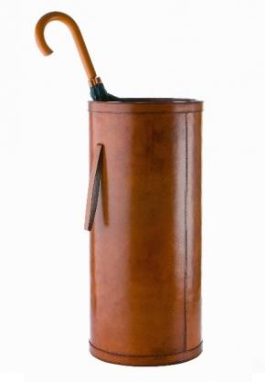 Подставки для зонтов. Зонтичница кожаная коньяк круглая KENSINGTON