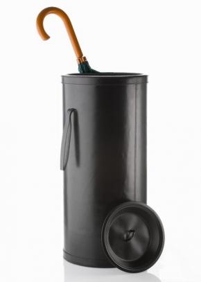 Подставки для зонтов. Зонтичница кожаная чёрная круглая KENSINGTON