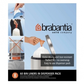 Мусорные баки и вёдра для кухни. Пакеты для мусора Brabantia (упаковка-диспенсер) 5л 60шт. (размер B)