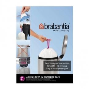 Мусорные баки и вёдра для кухни. Пакеты для мусора Brabantia (упаковка-диспенсер) 10/12л 40шт. (размер C)