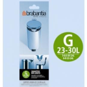 Мусорные баки и вёдра для кухни. Пакеты для мусора Brabantia (упаковка-диспенсер) 23/30л 40шт. (размер G)