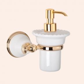 Аксессуары для ванной настенные. Подвесной дозатор для жидкого мыла TW Harmony TWHA108bi/oro