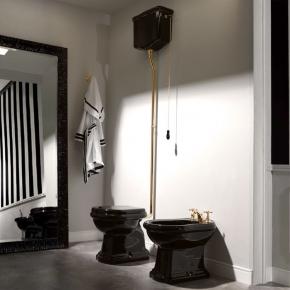 Унитазы Биде. Унитаз Kerasan Retro 1011 с верхним бачком в комплекте, цвет черный блестящий
