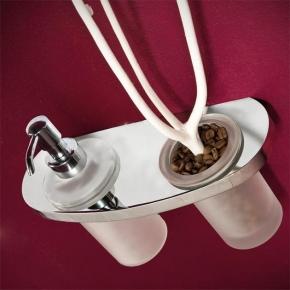 Аксессуары для ванной настенные. TR аксессуары для ванной дозатор+стакан хром стекло