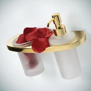 Аксессуары для ванной настенные. TR аксессуары для ванной дозатор + стакан золотой