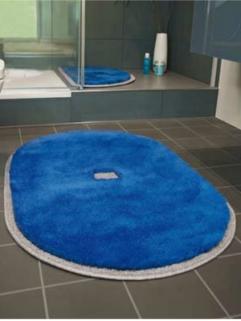 Коврики для ванной комнаты.  Коврик для ванной комнаты PIAZZA Nicol светло синий люрекс золотой серебряный Овальный