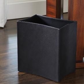 Аксессуары для кабинета Deluxe. Ведро Folded Leather Waste Basket-Black
