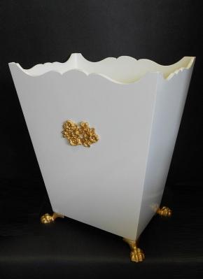 Аксессуары для кабинета Deluxe. Ведро для мусора деревянное Avorio золотой декор