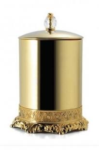 Вёдра с педалью Дровницы Вёдра. Ведро для мусора золотое с крышкой круглое с декором