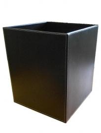Офисные вёдра Корзины для бумаг Урны. Ведро кожаное чёрное квадратное