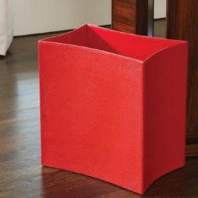 Аксессуары для кабинета Deluxe. Ведро Folded Leather Waste Basket-Crimson