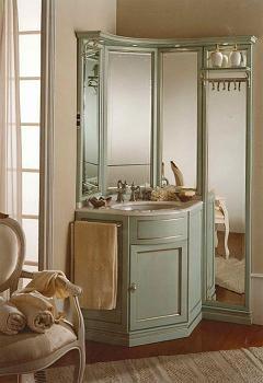Мебель для ванной комнаты. Мебель для ванной угловой умывальник с зеркалом Eurodesign IL BORGO 30