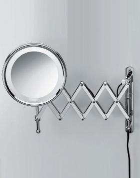 . Decor Walther Косметическое зеркало с подсветкой и увеличением 1х8 или 1х5 двойная гармошка Sharneer-Х настенное