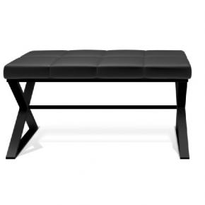 . Bench банкетка для ванной чёрная с чёрным мягким кожаным сиденьем