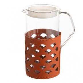 Посуда Столовые приборы Декор стола Deluxe. Кувшин с кожаным декором Оранжевый Мессина 0,75 л