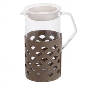 Посуда Столовые приборы Декор стола Deluxe. Кувшин с кожаным декором Серо-коричневый Мессина 0,75 л