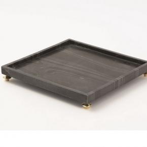 Аксессуары и Мебель для дома. Global Views Quintessential Tray-Square-Black поднос мраморный