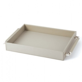 Аксессуары и Мебель для дома. Global Views Double Handle Serving Tray-Grey поднос кожаный серый