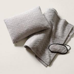 . Ralph Lauren Home Cable Heather Grey дорожный набор чехол-подушка маска плед кашемировый