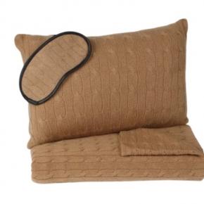 . Ralph Lauren Home Cable дорожный набор чехол-подушка маска плед кашемировый коричневый
