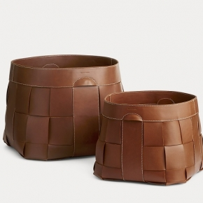 Аксессуары для кабинета Deluxe. Ralph Lauren Home Hailey Basket корзина кожаная плетёная коричневая