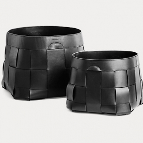Аксессуары для кабинета Deluxe. Ralph Lauren Home Hailey Basket корзина кожаная плетёная чёрная