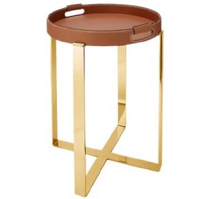 . Ralph Lauren Home Wyatt поднос кожаный коричневый с золотом металлической подставкой напольной
