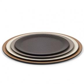 Аксессуары и Мебель для дома. Pinetti Victor Round TRAY кожаный поднос круглый