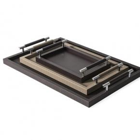 Аксессуары и Мебель для дома. Pinetti Dedalo поднос лоток кожаный с ручками металл декор