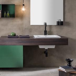 Итальянские постирочные раковины Мебель и оборудование для постирочной комнаты.  Подвесная постирочная раковина с мебелью тёмный дуб