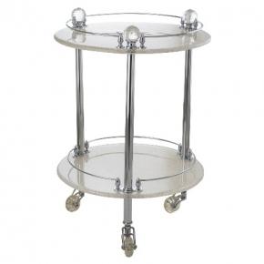 Этажерки для ванной. Этажерка круглая стеклянная столик Cristalia хром Swarovski