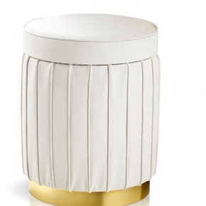 Банкетки для ванной Пуфы Интерьерные Табуреты для ванной и душа Откидные сиденья. Bath Pouff Пуф кожаный белый с золотым декором круглый
