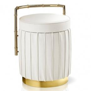 Банкетки для ванной Пуфы Интерьерные Табуреты для ванной и душа Откидные сиденья. Bath Pouff Пуф кожаный белый с золотым декором круглый Arm