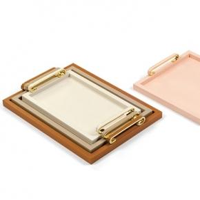 Аксессуары и Мебель для дома. Pinetti Foscari поднос лоток кожаный с ручками золото декор