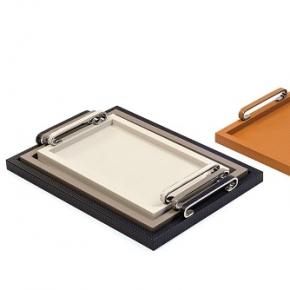 Аксессуары и Мебель для дома. Pinetti Foscari поднос лоток кожаный с ручками хром декор