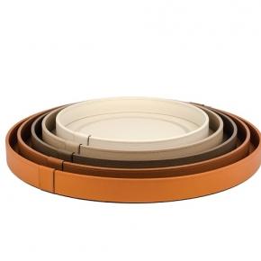Аксессуары и Мебель для дома. Pinetti Venere поднос лоток кожаный круглый